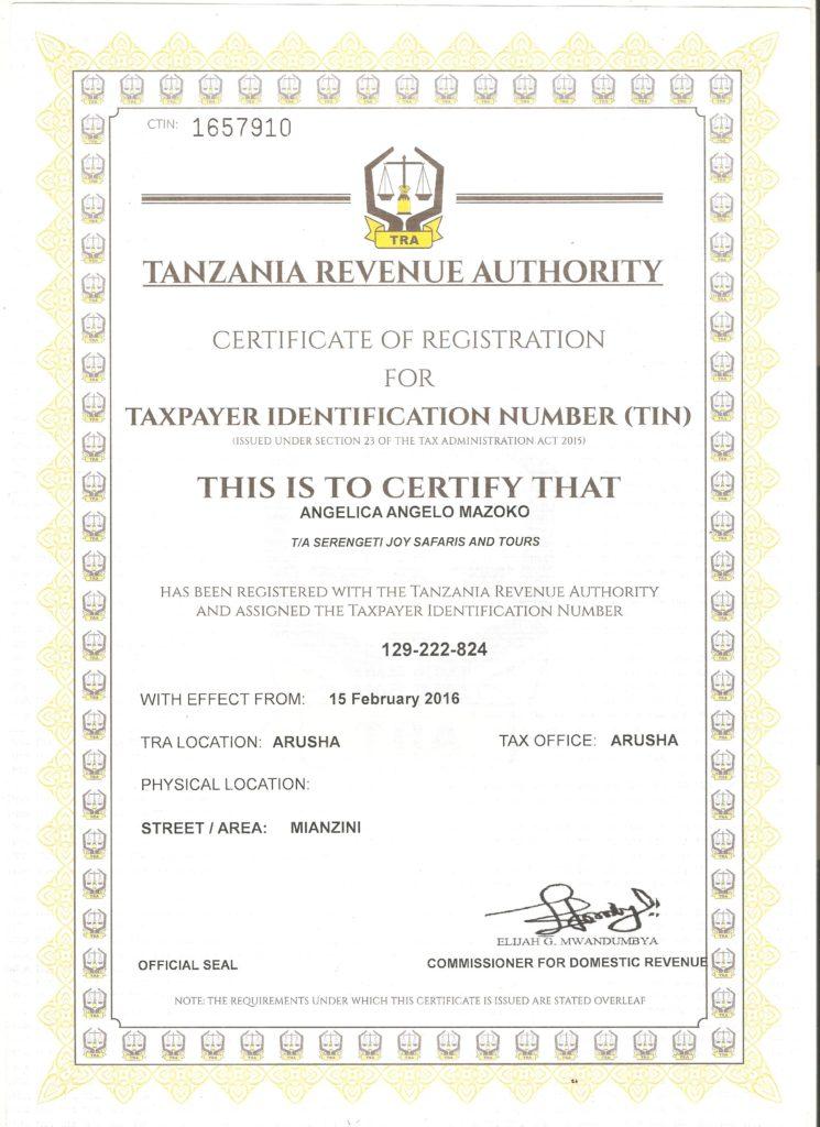 Osvědčení o registraci k dani