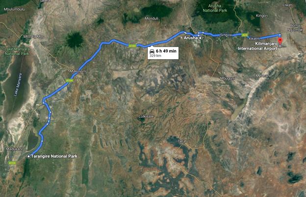 Safari v národním parku Tarangire - grafické znázornění itineráře
