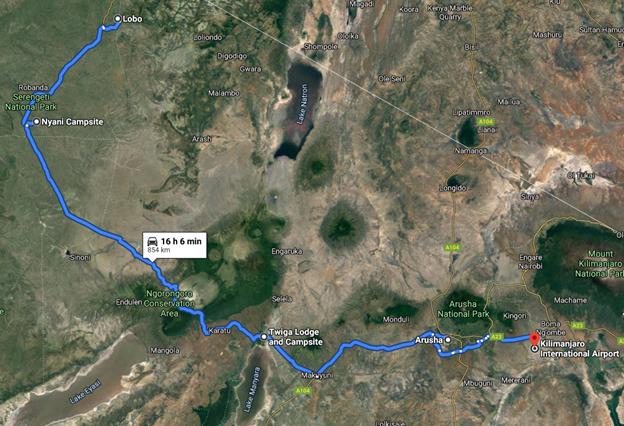 Grafické znázornění safari itineráře