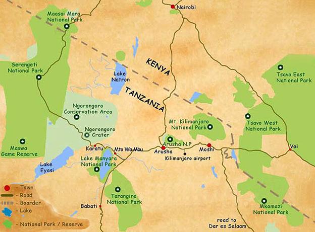 Mapa národních parků v severní Tanzanii