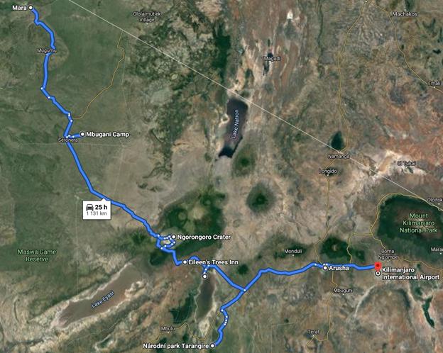 """Itinerář graficky 6 dní / 5 nocí prodloužený """"See it All"""" okruh – čtyři hlavní parky v severní Tanzanii a řeka Mara v chatkách"""