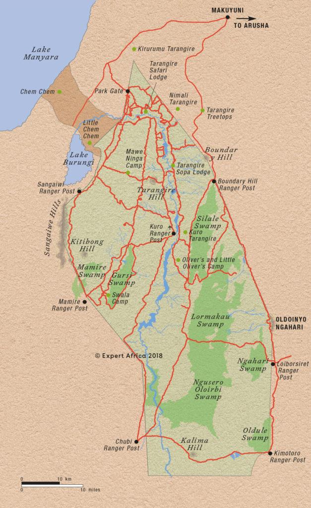 Mapa národní park Tarangire