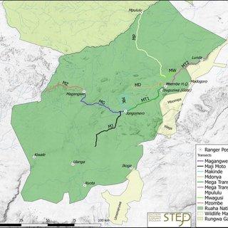 Mapa cest v parku Ruaha