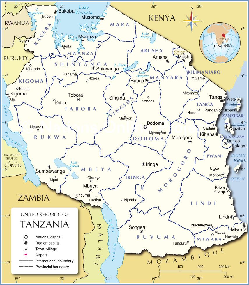 Administrativní mapa Tanzanie