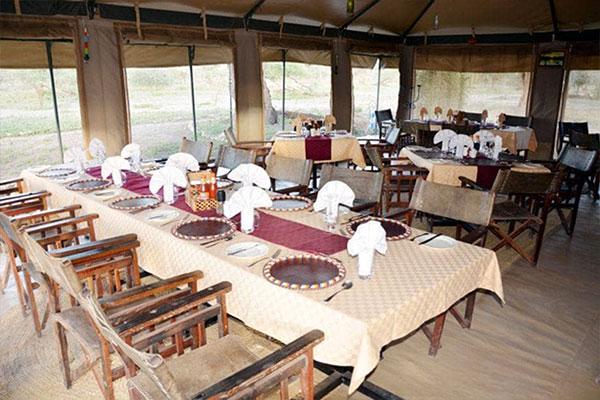 Pohodlná jídelna v Tanzania Bush Camp