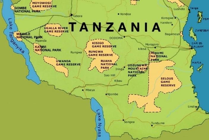 Národní parky v jižní Tanzanii