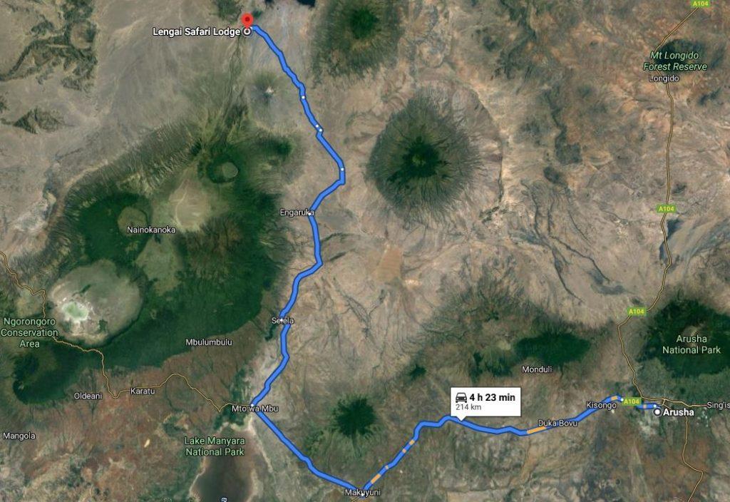 Grafické znázornění trasy z Arushi k Ol Doinyo Lengai