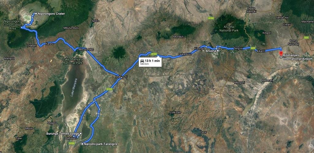 Grafické znázornění itineráře safari