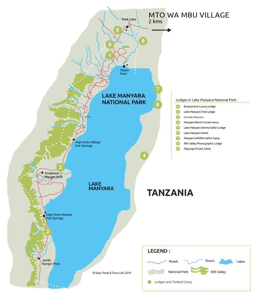 Mapa národní park Lake Manyara