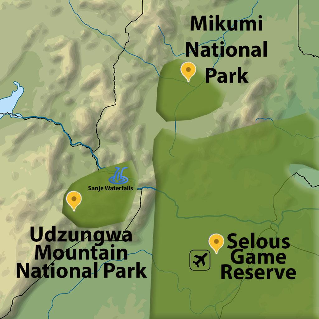 Tři sousedící parky v Jižní Tanzanii
