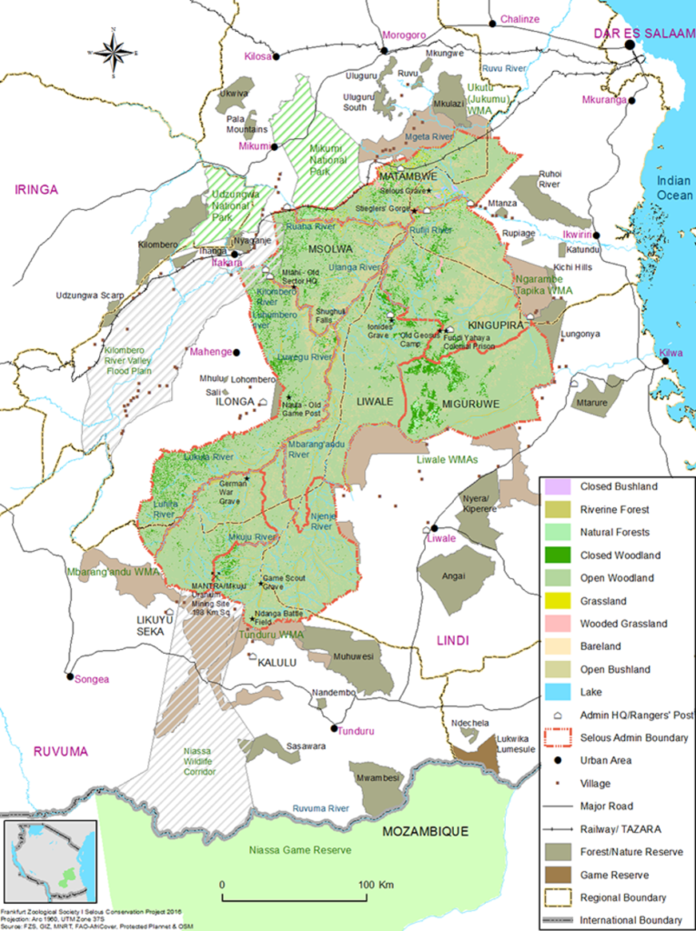 Mapa Selousovy rezervace