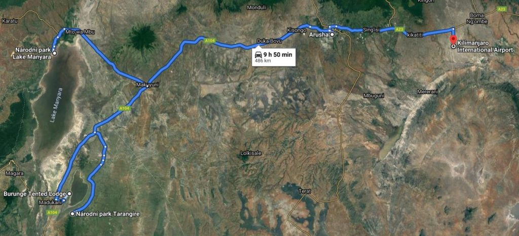Grafické znázornění itineráře 3 dny Tarangire a Lake Manyara