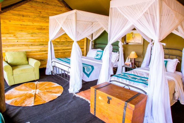 Twin postele v Serengeti Heritage Luxury Tented Camp