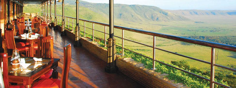 Panoramatická restaurace v Ngorongoro Wildlife Lodge
